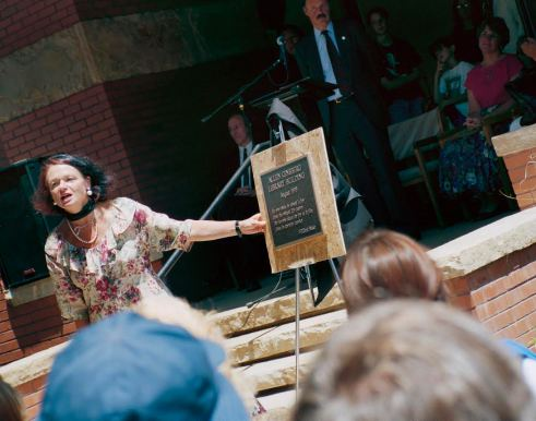 Anne Waldman Presents The Plaque Honoring Allen Ginsberg Allen Ginsberg Library Dedication Naropa University July 1994 Photo by Seth Brigham