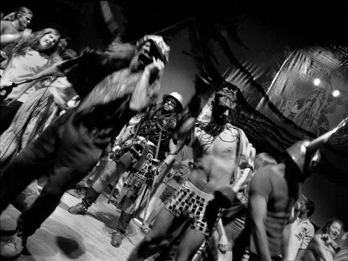 Post TWISTER Party On Stage Party With Ken Kesey & The Merry Pranksters W/ Party Goers Boulder Theater July 4th, 1994 Photo by Seth Brigham