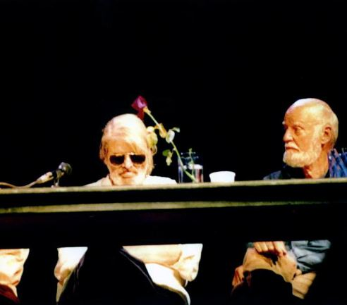 Gregory Corso ( nodding out ) & Lawrence Ferlinghetti Panel Discussion Boulder High School July 1994 Photo by Seth Brigham