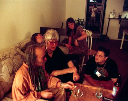 "Cecil Taylor, Joanne Kyger, Steve Silberman and Other ""Party Goers."" University of Colorado, Boulder Townhouses July 1994 Photo by Seth Brigham"