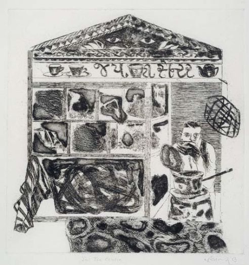 """Jai Tea Centre,"" 2/83, etching, 27 x 27 cm"