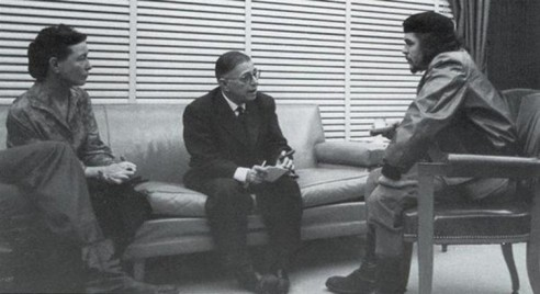 De Beauvoir and Sartre meet Che Guevara on their trip. Wikimedia Commons