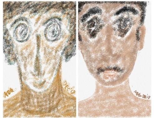Pastel Impromptu Portrait Duo ADG